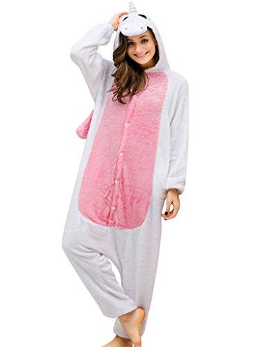 Unicorn Adult Onesie For Women Men Pajamas Animal Cosplay Halloween Costume - Pink - Medium