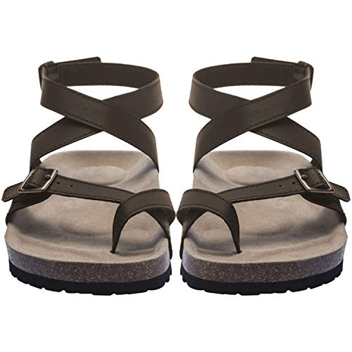 Women Flat Sandals Buckle Strappy Sandals Cross Toe Ankle Strap Cork Sole Leather Flat Mayari Sandals (US 7.0-9.4in(Foot Length)-Tag 38, A Brown) ()