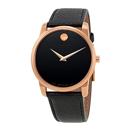 Men's 40mm Black Leather Band Rose Gold Plated Case Sapphire Crystal Swiss Quartz Watch - Movado 0607060