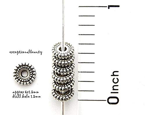 (Pendant Jewelry Making 100 Antiqued Tibetan Silver 6mm Beaded Heishi Disc Rondelle Spacer Accent Beads)