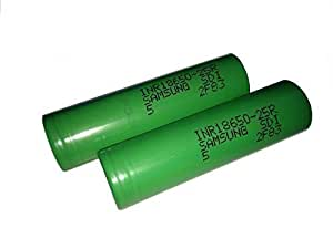 Samsung INR18650-25R  Lithium Ion Li-Ion Rechargeable Flat Top 2500mAh,3.6V Batteries Pack of 2 (Green assorted)