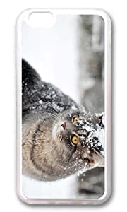 MOKSHOP Adorable cute cat in snow Soft Case Protective Shell Cell Phone Cover For Apple Iphone 6 Plus (5.5 Inch) - TPU Transparent