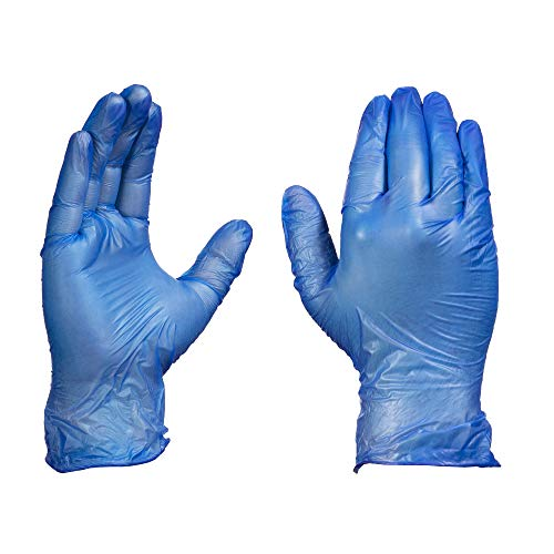 AMMEX Blue Vinyl 4Mil Disposable Gloves - Powder-Free, Food Safe, Non-Sterile, Latex Free, Large, Box of - Non Vinyl