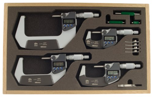 Mitutoyo 293-961 Coolant Proof LCD Micrometer Set, Ratchet Stop, 0-4