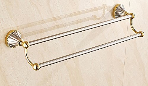 Hlluya Bathroom Accessory Set The Towel bar, Bathroom, Wall, Double Pedestal, Wall Mounted and Brass, Double bar, Brushed, Gold, ()