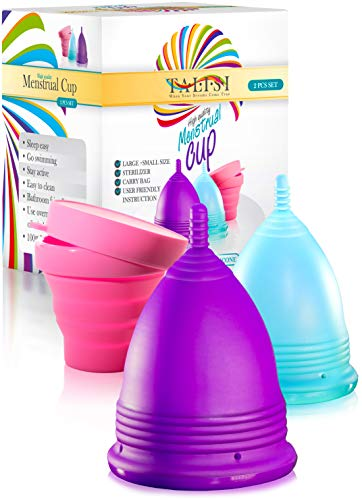 Talisi Menstrual Cups - Soft Reusable Period Cup - Menstruation Feminine Hygiene Products with Silicone Collapsible Sterilizing Cup - Regular and Heavy Flow - Large and Small Cup Menstrual