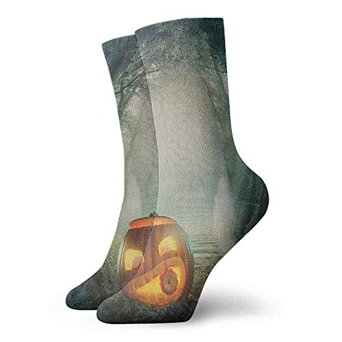 Performance socks Drawing of Scary Halloween Pumpkin Enchanted Forest Mystic Twilight Party Art Suitable for young people ()