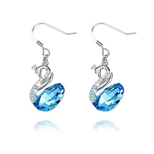 Earrigns,Swan Sky Blue Crystal Earring CDE Women Silver Dangle Jewelry Made with Swarovski Crystals Gifts for Women Girlfriend