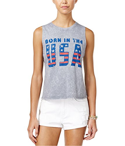 American Rag Womens Born in The USA Tank Top lghthethrgrey M - Juniors