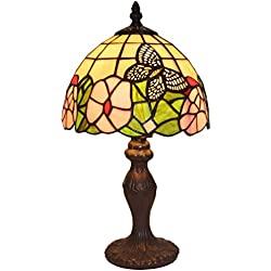 "Amora Lighting AM042TL08 Tiffany Style Floral Mini Table Lamp, 8""W x 15""H"