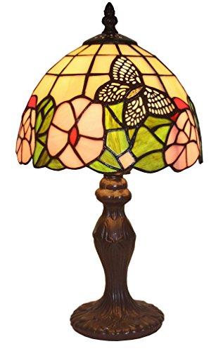 "Amora Lighting AM042TL08 Tiffany Style Floral Mini Table Lamp, 8""W x 15""H"