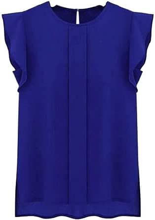 Camisetas Sin Mangas Mujer SHOBDW Verano Playa Mar Sexy Cuello Redondo Blusa Corta Informal Casual Suelto Gasa Volante Fruncido Sólido Puro Camisas De ...