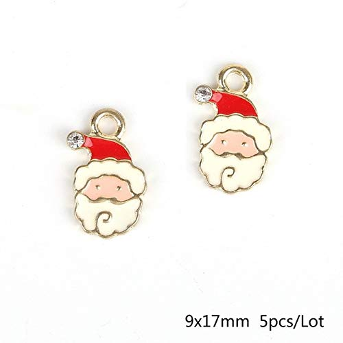 Lindsie-Box - Lovely Christmas Santa Xmas Hole 1.5/2mm 5pcs Enamel Charm Pendant Ornament Holiday Party Decoration DIY Jewelry Findings