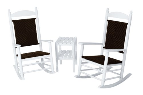 (POLYWOOD PWS141-1-FWHCA Jefferson 3-Piece Woven Rocker Chair Set, White Frame/Cahaba)