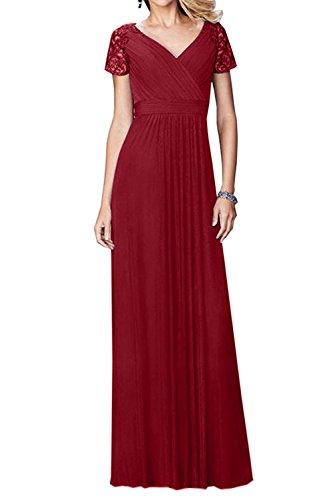 Abendkleider Braut mia Brautmutterkleider Spitze Kurzarm Dunkel Partykleider La Rot Lang Traumhaft Festlichkleider Promkleider 4XFx11