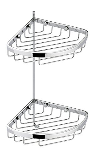 BA Hotel Croner Wall Shower Caddy Double Shelf Organizer With Hook - Brass (Polished Chrome)