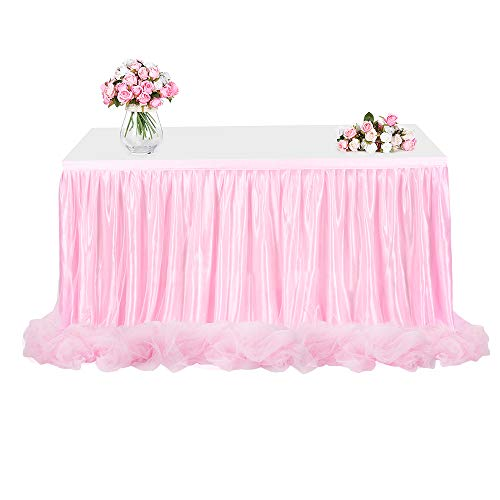 Tulle Table Skirt, FAMIROSA Tutu Tablecloth Skirting for Rectangle or Round Tables for Party, Wedding, Banquet, Baby Shower Christmas, Home Decoration (L6(ft) H30in, Pink) -