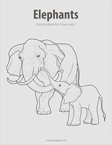 Amazon.com: Elephants Coloring Book for Grown-Ups 1 (Volume 1 ...