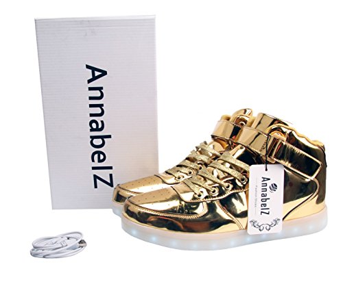 6337c1b63286 AnnabelZ LED Shoes High Top Men Women Light Up Shoes USB Charging Flashing Sneakers  Gold Silver - Buy Online in Oman.