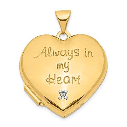 14k Yellow Gold 21mm Heart Diamond Photo Pendant Charm Locket Necklace That Holds Pictures Inside Fine Jewelry Gifts For Women For Her