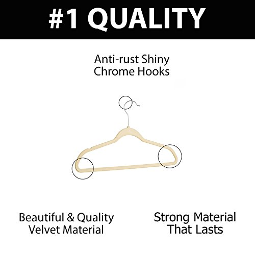 Tops Pants 50, Ivory 50-Pack |Closet Space Savers |Suitable for Suits Deep Notches for Straps Teen and Adult Shirt Hangers |Ivory Jackets Melvado Non-slip Velvet Flat Hangers Dresses