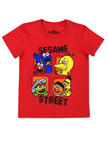 Sesame Street Gang Baby Toddler Boy's Girl's Short Sleeve T-Shirt Tee (Sesame Street Red, 24 Months)