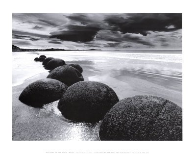 Boulders On the Beach Black and White Photography Print Poster Art