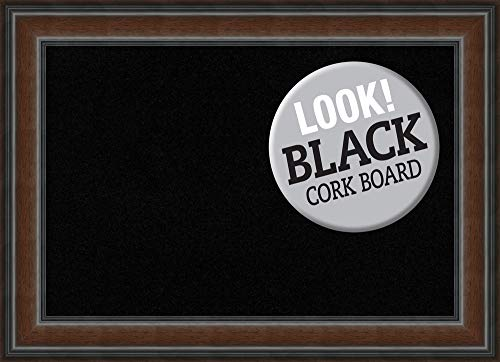 (Amanti Art Framed Black Cork Board Bulletin Board | Black Cork Boards Cyprus Walnut Frame | Framed Bulletin Boards | 28.88 x 20.88)