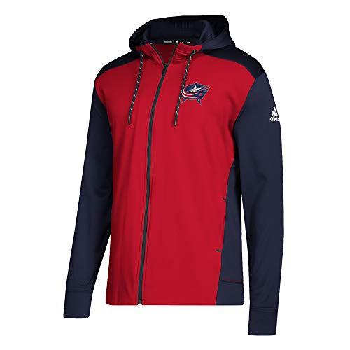 adidas NHL Mens 2018 Fleece Full Zip Pullover (Large, Columbus Blue Jackets)