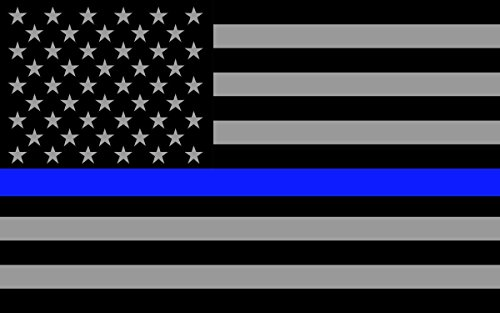"2 PACK Subdued US Flag Police REFLECTIVE Blue Thin Line Sticker Decal 4"" x 2.5"""