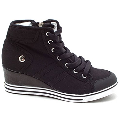 EpicStep Women's Black Canvas Wedges Shoes High Tops High Heel Casual Lace Up Fashion Sneakers 8 M - Rubber Wedge Heel