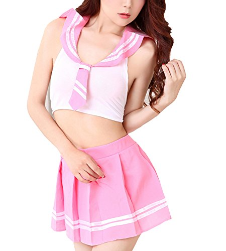 [Olens Lady Girl Sexy Lingerie Cosplay School Uniform Temptation Sailor Suit Mini Skirt Outfit] (Sailor Outfits For Ladies)
