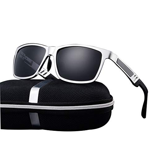 HONGNA Men's New Polarized Sunglasses Aluminum Magnesium Frame Glasses Driver Mirror Driving Mirror Fishing Mirror (Color : Silver Frame Gray Piece) ()