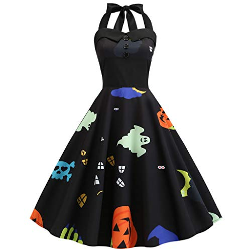 YY1950s Ladies Halloween Pumpkin Head Ghost Print Gothic Country Rock Party Party Hanging Neck Pleated Horn Dress (Black 2, XL) (Bedrooms Country)