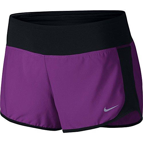 Women's Nike Crew Dry Running Short Cosmic Purple/Black/Reflective Silver Size Small