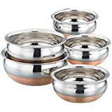"Jalpan Cookware Combo - Serving HANDI 5 Pcs. Set - Round Bottom - 550ml, 750ml, 1250ml, 1900ml, 2500ml. ""Premium Quality - Stainless Steel - EXPORT QUALITY Copper Bottom"""