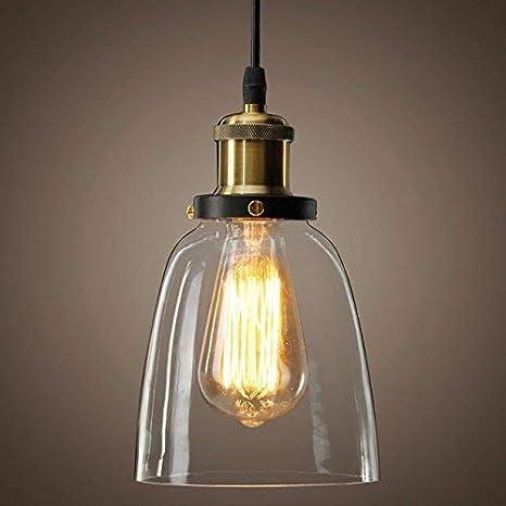 Huntvp Lámpara Luz de Colgante Industrial de Cristal Lámpara de Techo Estilo Vintage Retro E27 40W