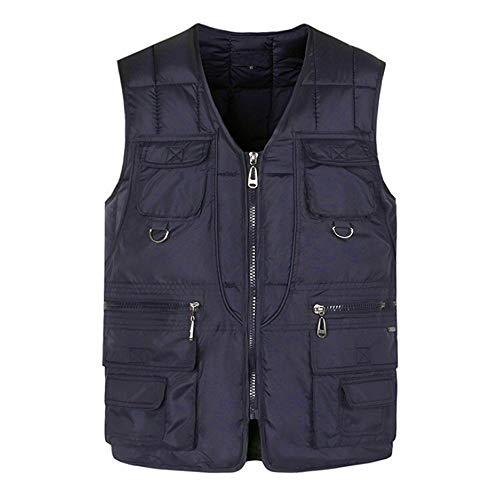 Sunhusing Fashion Men Autumn Winter Multi-Pocket Multi-Zipper Pure Color Waistcoat Vest Jacket Top Coat (Taffeta Dress Bustier Stretch)