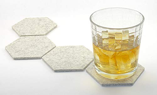 Accent Wool Blend - Hexagon Drink Coasters in 5mm Thick Merino Wool Felt- Sandstone