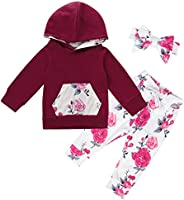 Kantenia Toddler Baby Girl Clothes Solid Color Long Sleeve Ruffle Flared Tunic Tops Floral Pants with Headband