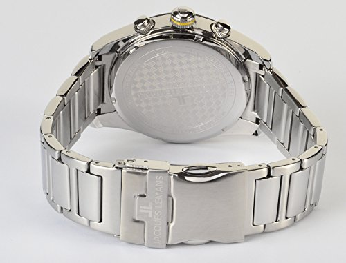 JACQUES LEMANS herrklocka Liverpool metallband massivt rostfritt stål kronograf 1-1801M