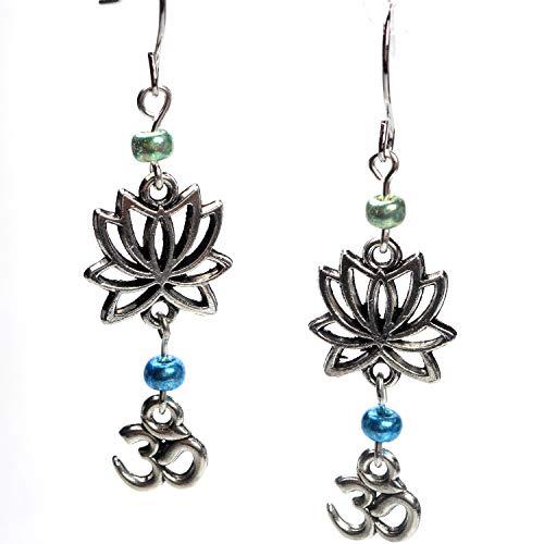 Oriental Metal Bead - Silver Tone Lotus Flower & Om Charms W/Glass Bead Dangle Earrings, Zen Meditation Yoga Jewelry Gift