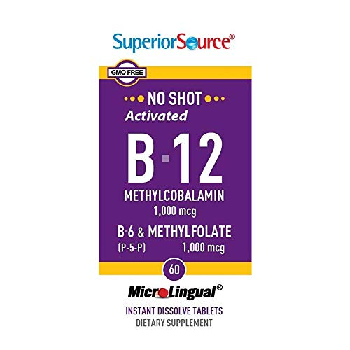 Superior Source No Shot Vitamin B12 Methylcobalamin 1000 mcg Sublingual - B6 - Methyl Folate - Instant Dissolve Tablets - Methyl B12 Supplement 60 Count