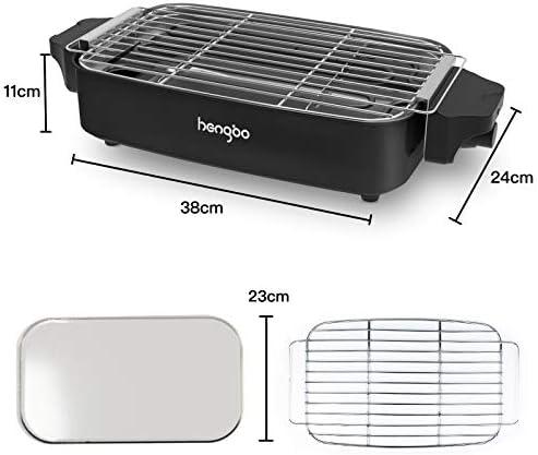 HengBo Barbecue Électrique de Table, BBQ Electrique 1800W, Barbecue de Table avec Thermostat et bac de Récupération, Espace Barbecue 38 cm x 24 cm, pour jusqu'à 5 Personnes, 1800 W, Noir