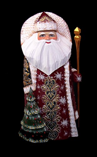 RUSSIAN WOODEN SANTA HAND CARVED amp PAINTED w/Cristmass Tree Attached #1039