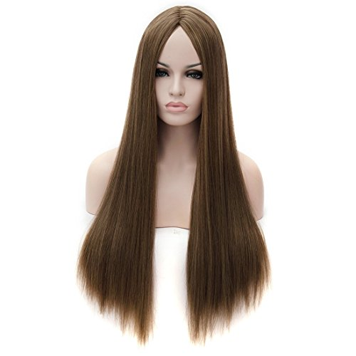 Kalyss Women's Wig Long Straight Imported Heat Resistant Yaki Synthetic Cosplay Costume Hair Wig