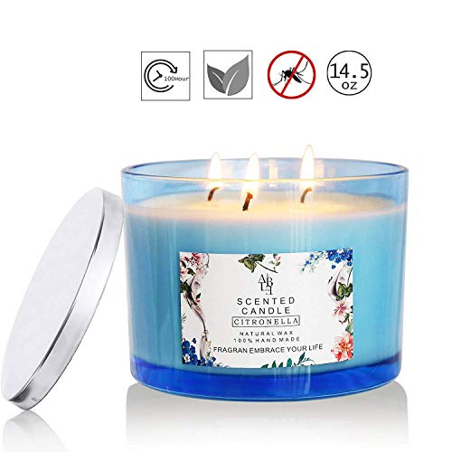 Howemon Citronella Candles Scented 3 Wick, Giant 1lb Soy Wax, Glass Jar 14.5 oz, 80 Hour Burn, Outdoor and Indoor