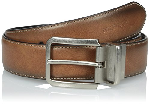 Tommy Hilfiger Men's Casual Reversible Belt, Tan/Black Stitch, 34 (Tan Reversible Leather)