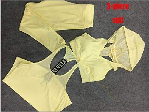 SGYHPL Sommer Frauen Gym Sport Weste Ärmelloses Hemd Fitness Laufbekleidung Tanktops Workout Yoga Unterhemden Quick Dry Tuniken L 3-Teiliger Anzug Gelb
