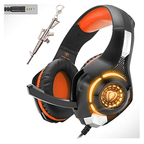 Orange Stereo Gaming Headset for PS4 Xbox One PC Controller, 3.5mm Wired Over Ear Headphones with Mic. LED Light…